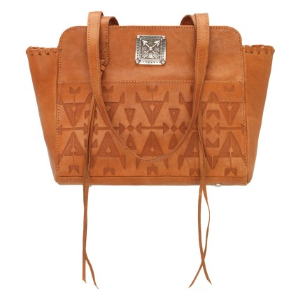 American West Leather - Multi Compartment Tote Bag - Crossed Arrows Colden Tan