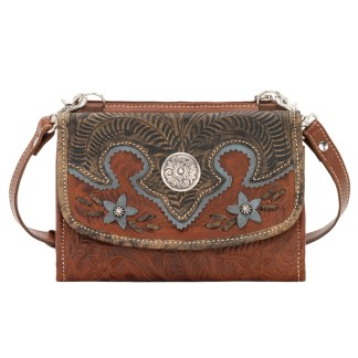 American West Leather - Small Crossbody Handbag - Wallet - Blue - Desert Wildflower