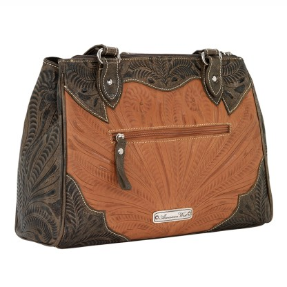 American West Leather - Multi Compartment Tote Bag - Desert Wildflower Cream