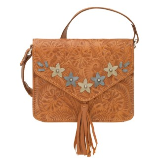 American West Leather - Small Cross Body Handbag  Tan - Flower Power