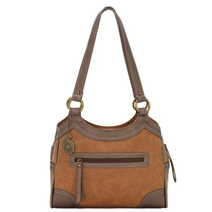 American West Bandana Zip Top Shoulder Handbag Medium Brown - Concealed Cary [CLONE] [CLONE] [CLONE]