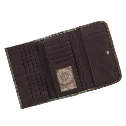 American West Leather - Tri-Fold Ladies Wallet - Sand 2 Tone - Annie's Secret - Concealed Carry