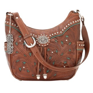 American West Leather - Shoulder Handbag Hobo  Turquoise - Lady Lace