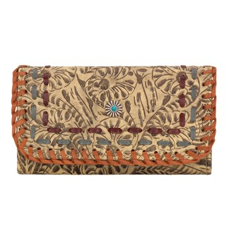 American West Leather - Tri-Fold Ladies Wallet - Sand Multi - Messila