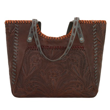 American West Leather -Large Shopper Tote Bag - Brown - Mesilla