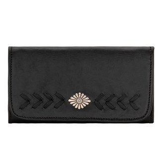 American West Leather - Tri-Fold Ladies Wallet - Black - Mohave canyon