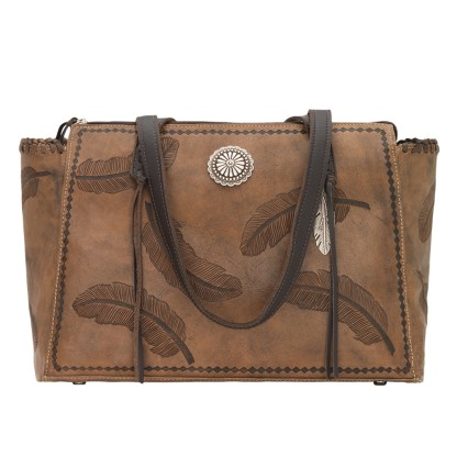 American West Leather -Large Shopper Tote Bag - Charcoal Brown - Annie's Secret - Concealed Carry