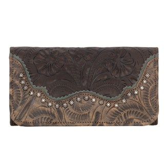 American West Leather - Tri-Fold Ladies Wallet - Chocolate Brown - Annie's Secret - Concealed Carry