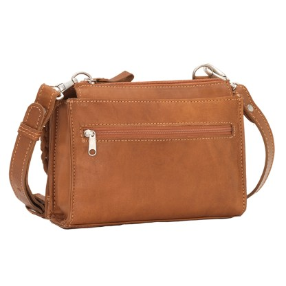 American West Leather - Small Crossbody Handbag - Wallet - Tan - Texas Two Step