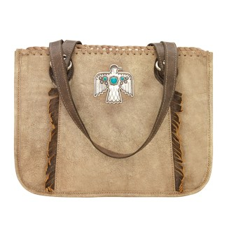 American West Leather - Multi Compartment Tote Bag - Thunderbird Ridge Brown