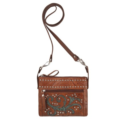 American West Leather - Small Cross Body Handbag Turquoise - Trail Rider