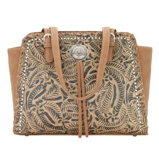 American West Bandana Zip Top Shoulder Handbag Tan - Trinity Trail