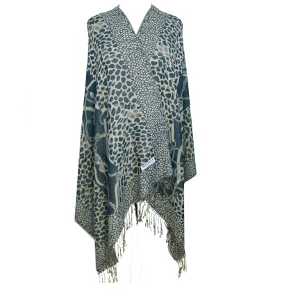 Silver Fever Pashmina-Leopard Animal Print Shawl- Stylish Soft Scarf Wrap Teal Beige