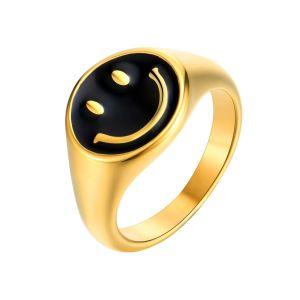 Anillo Smiley Baño de Oro Enamel Negro