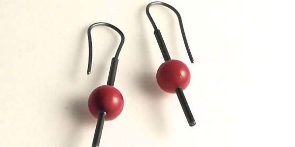 702 - Single Round Coral Earrings