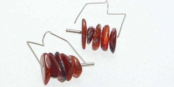 762 - Free Form Amber Earrings