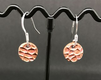 Copper 2 -Copper disk earrings and sterling silver earring hooks. £8 + post and packaging.