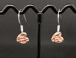 Copper 1 -Copper heart shaped earrings and sterling silver earring hooks. £8 + post and packaging.