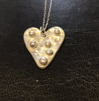 Fine Silver Heart Shaped Pendant, also at Happy Planet Creative Arts: https://happyplanetstudio.co.uk/product/fine-silver-silver-clay-heart-shaped-pendant/ £24.99 + post and packaging.