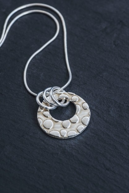Fine Silver textured pendant with 45cm sterling silver snake chain