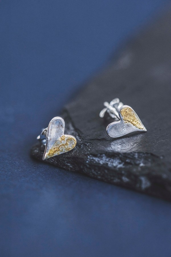 Silverkupe Half and Half HeartEarrings