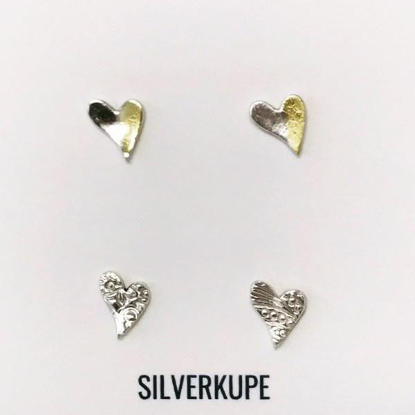 Silverkupe 2 pairs of Heart Stud earrings