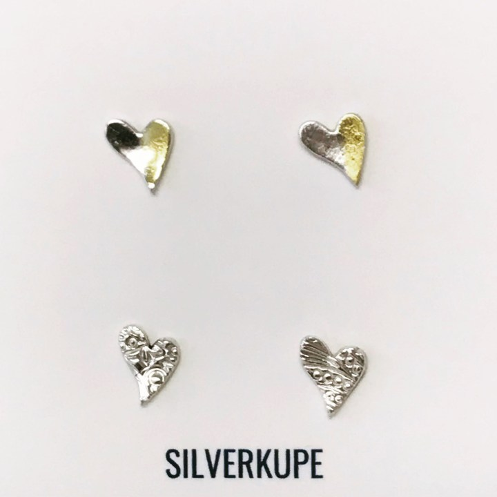 Silverkupe 2 pairs of Heart Stud earrings
