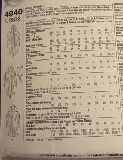 The sizing guide on the dress pattern