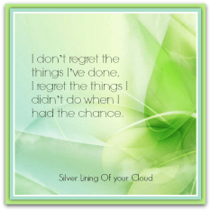 """I don't regret the things I've done, I regret the things I didn't do when I had the chance."" – Unknown"
