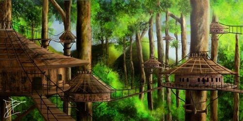 tree fantasy deviantart village forest treehouse trees elf cities concept elves landscape built fiction science silvermere temples council castle futuristic
