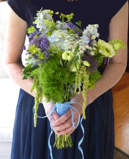 white, blue and green bridal bouquet