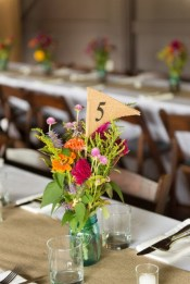 warm colored table arrangement