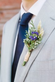 blue and white boutonniere