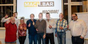 Gruppenbild auf dem MACH.BAR Event 2020 in Biberach mit Matthias Jäger, Tim-Christopher Jäger, Svend Krumnacker und Anderen.