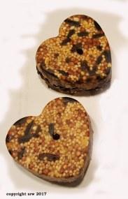 Heart-shaped bird seed cakes.