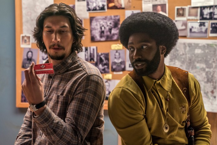 Adam Driver stars as Flip Zimmerman and John David Washington as Ron Stallworth in Spike Lee's BlacKkKLansman, a Focus Features release. Credit: David Lee / Focus Features