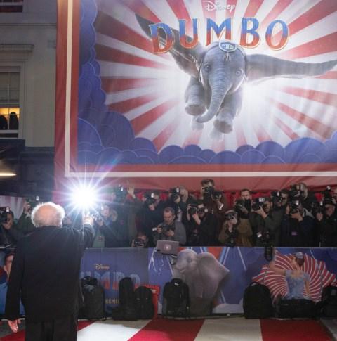 "Danny DeVito attends the European Premiere of Disney's ""Dumbo"" on February 27, 2019 in London, UK"