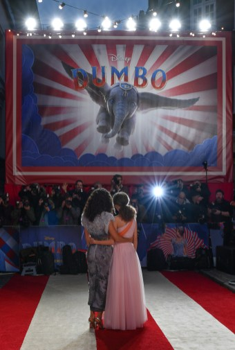 "LONDON, ENGLAND - MARCH 21: Thandie Newton (L) and Nico Parker attend the European Premiere of Disney's ""Dumbo"" at The Curzon Mayfair on March 21, 2019 in London, England. (Photo by Gareth Cattermole/Getty Images for Disney)"