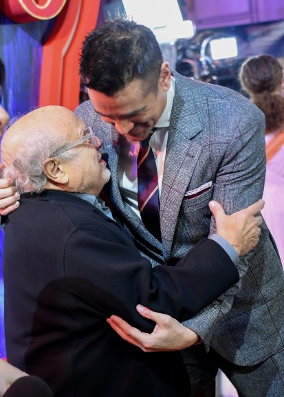 """LONDON, ENGLAND - MARCH 21: Danny DeVito and Colin Farrell attend the European Premiere of Disney's """"Dumbo"""" at The Curzon Mayfair on March 21, 2019 in London, England. (Photo by Gareth Cattermole/Getty Images for Disney)"""