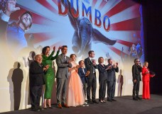 "LONDON, ENGLAND - MARCH 21: (L-R) Danny Devito, Eva Green, Collin Farrell, Nico Parker, Finley Hobbins, Justin Springer, Katterli Frauenfelder, Derek Frey, Tim Burton and Edith Bowman on stage at the European Premiere of Disney's ""Dumbo"" at The Curzon Mayfair on March 21, 2019 in London, England. (Photo by Gareth Cattermole/Getty Images for Disney)"