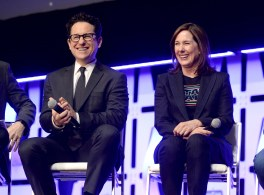 """CHICAGO, IL - APRIL 12: Director J.J. Abrams (L) and Producer Kathleen Kennedy onstage during """"The Rise of Skywalker"""" panel at the Star Wars Celebration at McCormick Place Convention Center on April 12, 2019 in Chicago, Illinois. (Photo by Daniel Boczarski/Getty Images for Disney ) *** Local Caption *** J.J. Abrams; Kathleen Kennedy"""