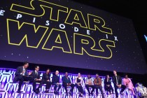 """CHICAGO, IL - APRIL 12: (L-R) Moderator Stephen Colbert, Director J.J. Abrams, Producer Kathleen Kennedy, Anthony Daniels (C-3PO), Billy Dee Williams (Lando Calrissian), Daisy Ridley (Rey), John Boyega (Finn), Oscar Isaac (Poe Dameron), Kelly Marie Tran (Rose Tico), Joonas Suotamo (Chewbacca), Naomi Ackie (Jannah) and R2-D2 onstage during """"The Rise of Skywalker"""" panel at the Star Wars Celebration at McCormick Place Convention Center on April 12, 2019 in Chicago, Illinois. (Photo by Daniel Boczarski/Getty Images for Disney ) *** Local Caption *** Stephen Colbert; J.J. Abrams; Kathleen Kennedy; Anthony Daniels; Billy Dee Williams; Daisy Ridley; John Boyega; Oscar Isaac; Kelly Marie Tran; Joonas Suotamo; Naomi Ackie; R2-D2"""