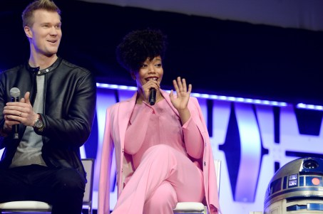 """CHICAGO, IL - APRIL 12: Joonas Suotamo (Chewbacca) (L) and Naomi Ackie (Jannah) onstage during """"The Rise of Skywalker"""" panel at the Star Wars Celebration at McCormick Place Convention Center on April 12, 2019 in Chicago, Illinois. (Photo by Daniel Boczarski/Getty Images for Disney ) *** Local Caption *** Naomi Ackie; Joonas Suotamo"""