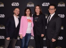 """CHICAGO, IL - APRIL 12: (L-R) Writer Chris Terrio, producers Michelle Rejwan, Kathleen Kennedy and Director J.J. Abrams attend """"The Rise of Skywalker"""" panel at the Star Wars Celebration at McCormick Place Convention Center on April 12, 2019 in Chicago, Illinois. (Photo by Daniel Boczarski/Getty Images for Disney ) *** Local Caption *** Chris Terrio; Michelle Rejwan; Kathleen Kennedy; J.J. Abrams"""