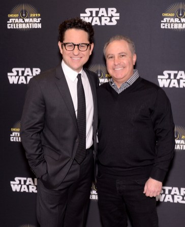 """CHICAGO, IL - APRIL 12: Director J.J. Abrams (L) and Walt Disney Studios President, Alan Bergman attend """"The Rise of Skywalker"""" panel at the Star Wars Celebration at McCormick Place Convention Center on April 12, 2019 in Chicago, Illinois. (Photo by Daniel Boczarski/Getty Images for Disney ) *** Local Caption *** J.J. Abrams; Alan Bergman"""