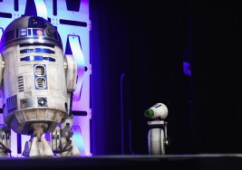 """CHICAGO, IL - APRIL 12: R2-D2 (L) and D-O onstage during """"The Rise of Skywalker"""" panel at the Star Wars Celebration at McCormick Place Convention Center on April 12, 2019 in Chicago, Illinois. (Photo by Daniel Boczarski/Getty Images for Disney ) *** Local Caption *** R2-D2; D-O"""