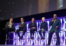 """CHICAGO, IL - APRIL 12: (L-R) Moderator Stephen Colbert, Director J.J. Abrams, Producer Kathleen Kennedy, Anthony Daniels (C-3PO) and Billy Dee Williams (Lando Calrissian) onstage during """"The Rise of Skywalker"""" panel at the Star Wars Celebration at McCormick Place Convention Center on April 12, 2019 in Chicago, Illinois. (Photo by Daniel Boczarski/Getty Images for Disney ) *** Local Caption *** Billy Dee Williams; Stephen Colbert; J.J. Abrams; Kathleen Kennedy; Anthony Daniels"""