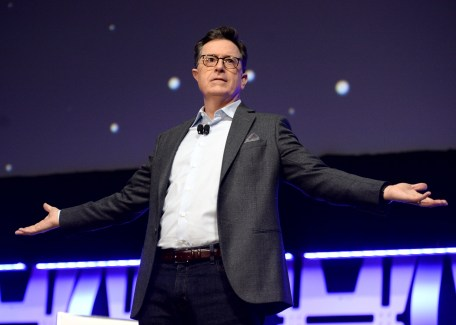 """CHICAGO, IL - APRIL 12: Stephen Colbert onstage during """"The Rise of Skywalker"""" panel at the Star Wars Celebration at McCormick Place Convention Center on April 12, 2019 in Chicago, Illinois. (Photo by Daniel Boczarski/Getty Images for Disney ) *** Local Caption *** Stephen Colbert"""
