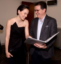 """CHICAGO, IL - APRIL 12: Daisy Ridley (Rey) (L) and Stephen Colbert attend """"The Rise of Skywalker"""" panel at the Star Wars Celebration at McCormick Place Convention Center on April 12, 2019 in Chicago, Illinois. (Photo by Daniel Boczarski/Getty Images for Disney ) *** Local Caption *** Stephen Colbert; Daisy Ridley"""
