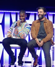 """CHICAGO, IL - APRIL 12: John Boyega (Finn) (L) and Oscar Isaac (Poe Dameron) onstage during """"The Rise of Skywalker"""" panel at the Star Wars Celebration at McCormick Place Convention Center on April 12, 2019 in Chicago, Illinois. (Photo by Daniel Boczarski/Getty Images for Disney ) *** Local Caption *** Oscar Isaac; Oscar Isaac"""